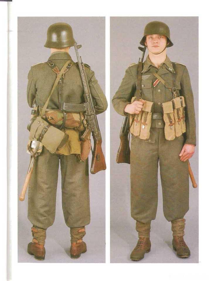 上图为二战前半段中的德国国防军机枪手(呢料制服外罩早期款式迷彩