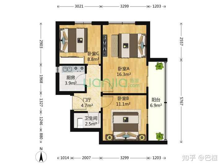 小户型60多怎么设计成三室一厅?
