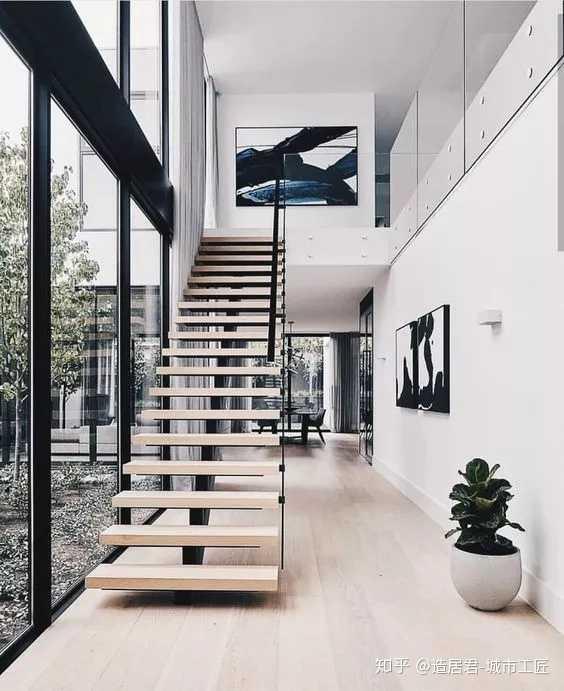 l型楼梯,最符合相对狭小的空间选择,是节省空间的利器.