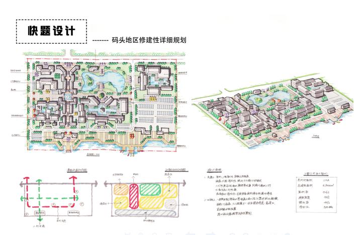 规划快题中无论城市中心还是居住区都要有轴线,轴线在图片