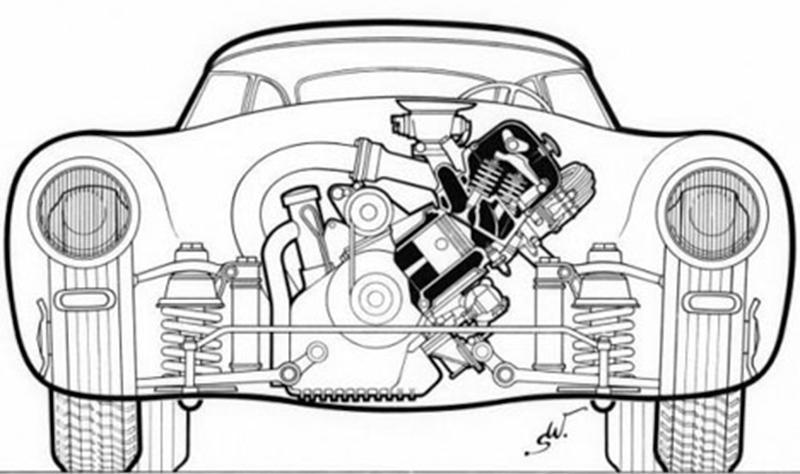 w194赛车发动机布置形式透视图图片