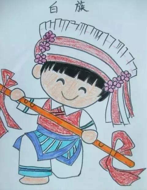 儿童画五十六个民族人物