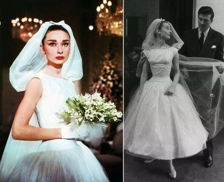 赫本穿上婚纱后,能够自由地旋转跳舞,并用蝴蝶结将头纱固定出纱笼造型图片