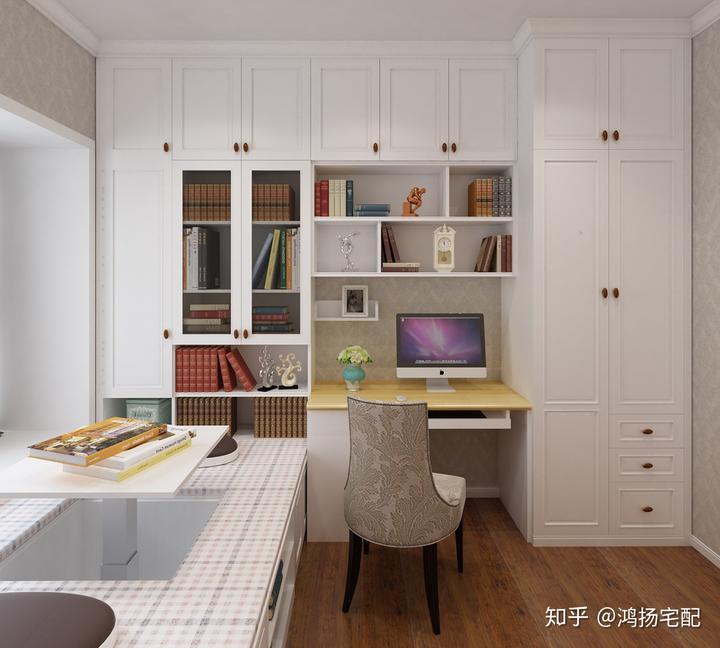 书桌榻榻米组合设计,在榻榻米的基础上延伸设计了一个书写阅读专区.