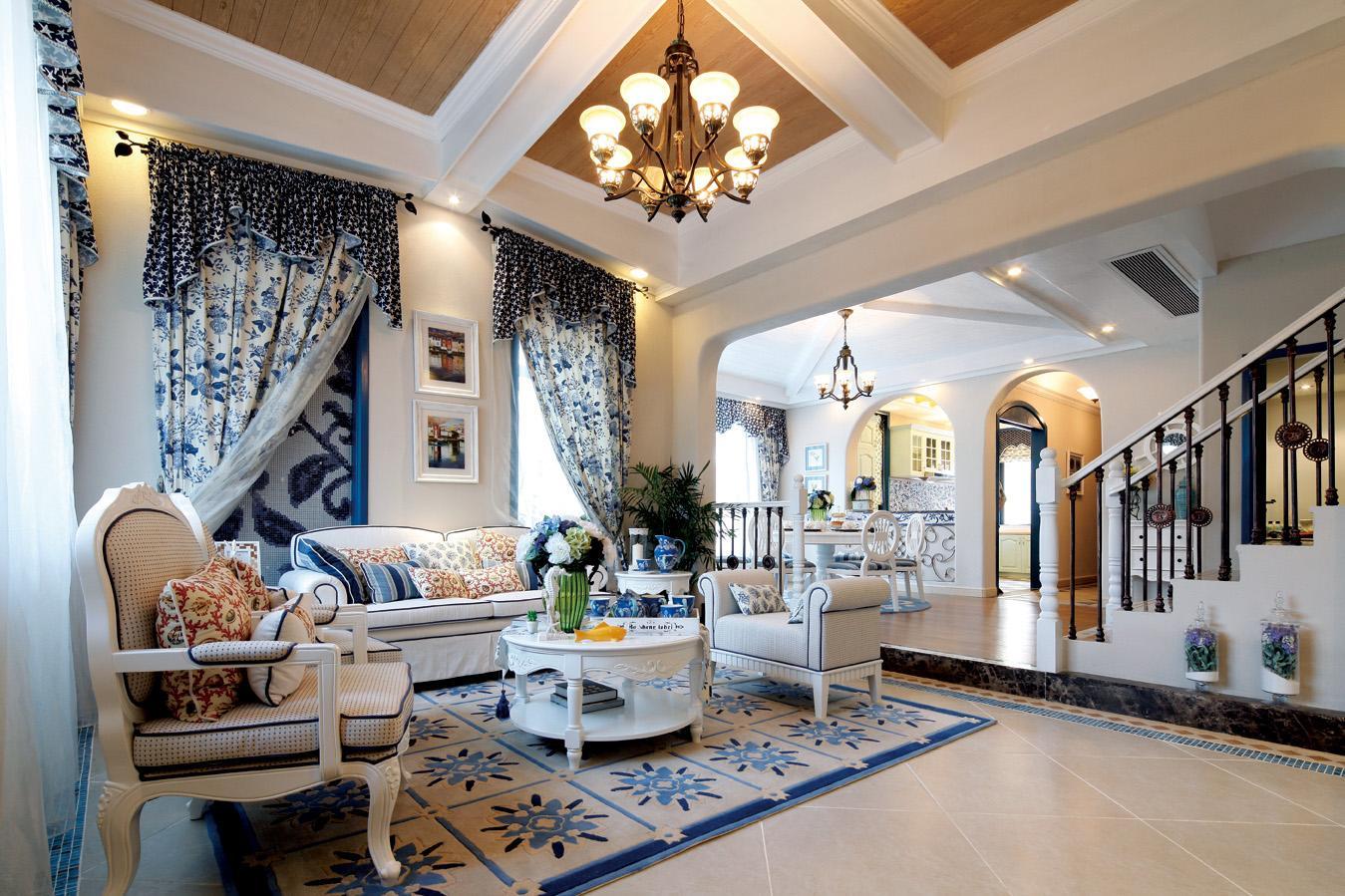 成都别墅装修 偏小清新的地中海风格设计