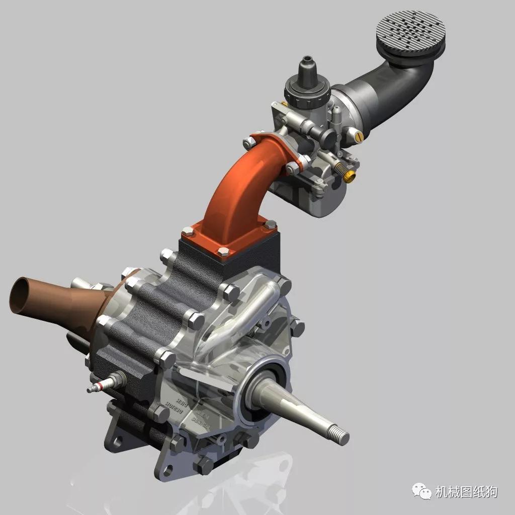 【发动机电机】二冲程转子发动机模型图纸 inventor