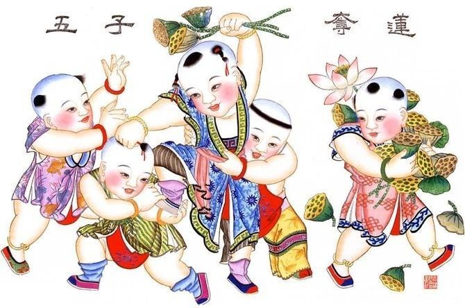 年画是过年时候才贴的,年画娃娃不是,那是极具中国味儿的挂画图片