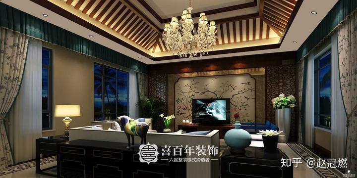客厅电视背景墙极具国画的元素,地砖拼花和波导线特别时尚,不管是随着图片