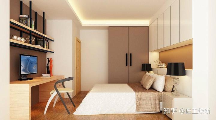 想要卧室不显拥挤,巧妙利用墙面是不错的选择,既能节省空间面积,又图片