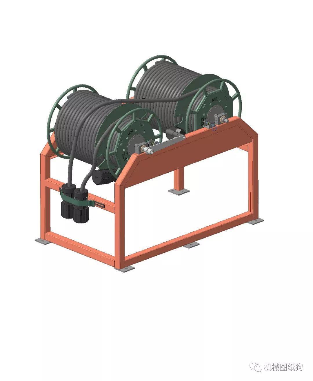 【工程机械】电缆盘电缆卷车3d模型图纸 stp格式
