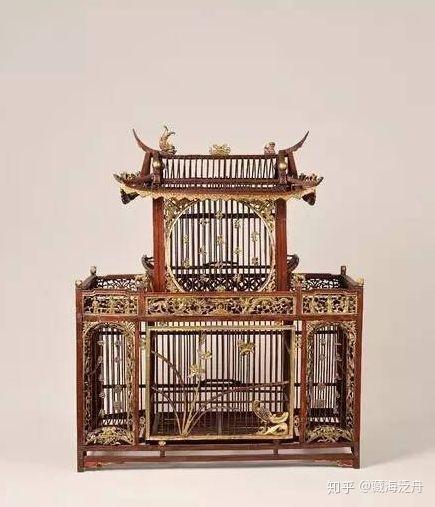 清中期 朱漆泥金亭式鸟笼