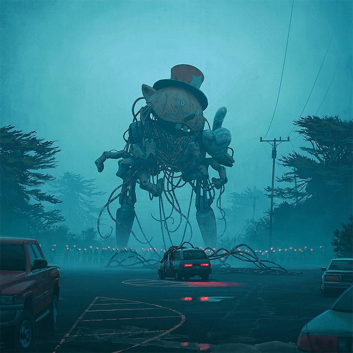 瑞典视觉小说大师simon stalenhag的《电幻国度》中的画作,绝对称得上