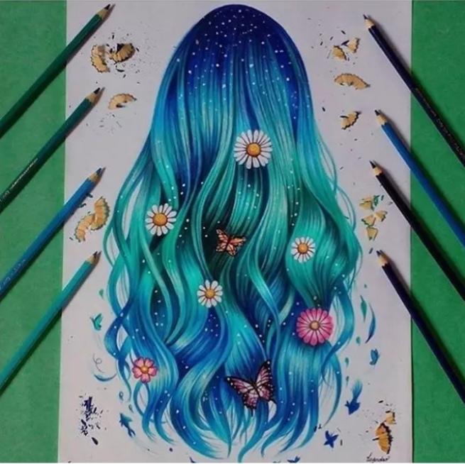 彩铅丨怎么把头发画的更漂亮呢?图片
