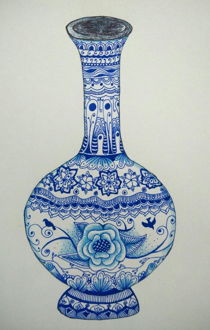 手绘禅绕画之青花瓷瓶(附步骤)