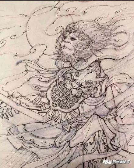 我是雕刻师,斗战神佛齐天大圣孙悟空纹身雕刻手稿素材图片