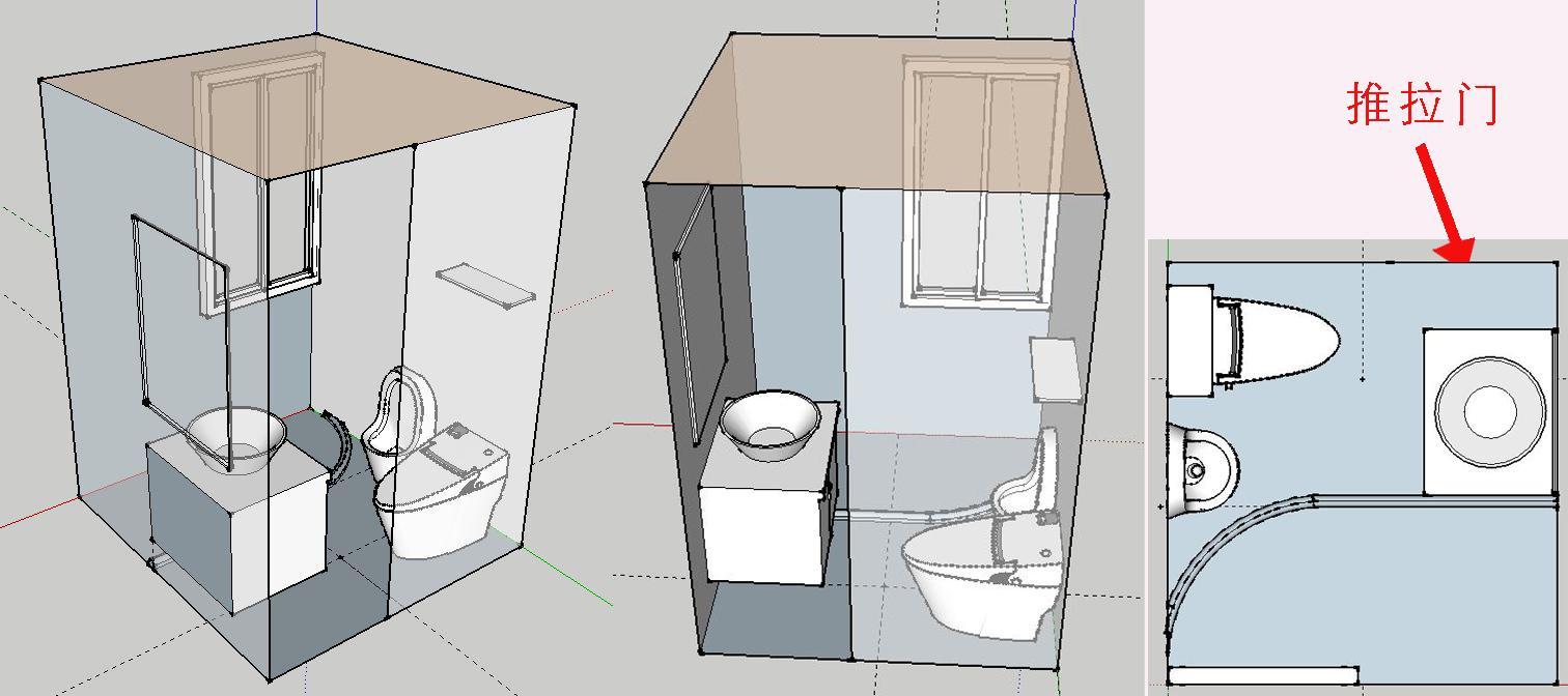 如何在小衛生間里面布置下馬桶和小便池,當然還要有淋浴區和面盆區.