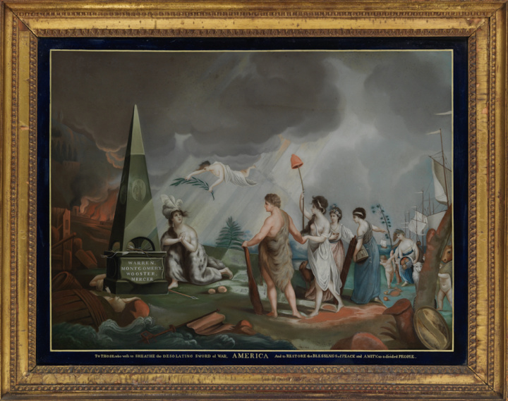 中 America,Reverse painting on glass after a print by Robert Paine 1780