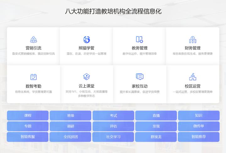 熊猫校管帮教培管理系统八大功能