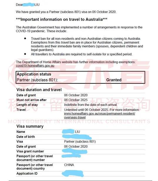 麦尔肯客户801配偶永久居留签证获批