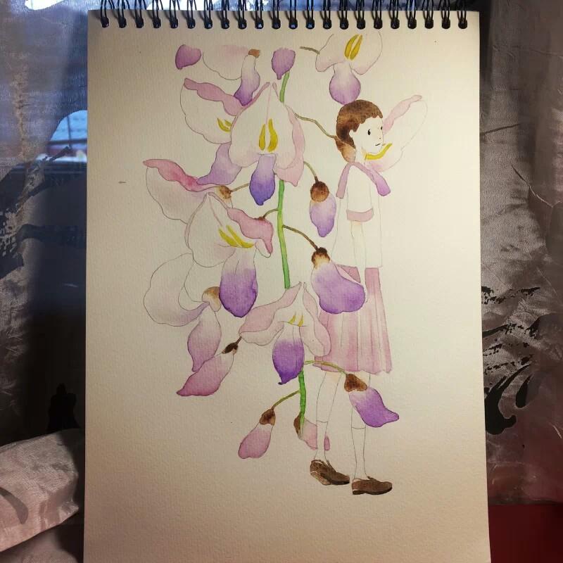 画画 水彩画 自学/开学以后因为忙和懒就疏于练习了,偶尔在手帐上画画彩铅。