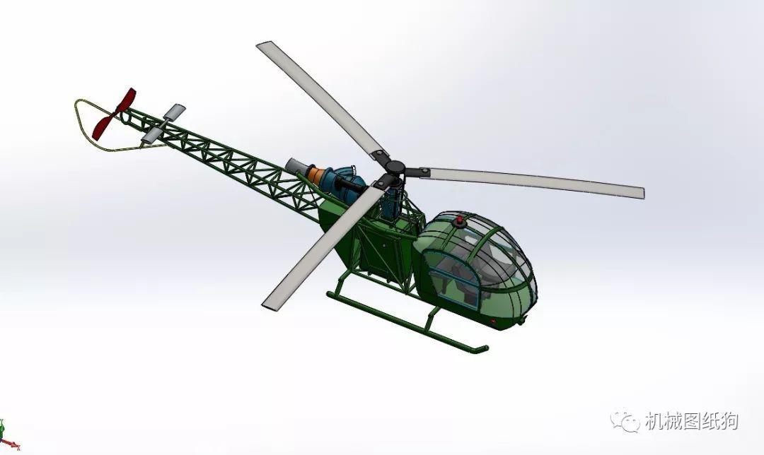 飛行模型簡易小鳥直升機3d模型圖紙 solidworks設計
