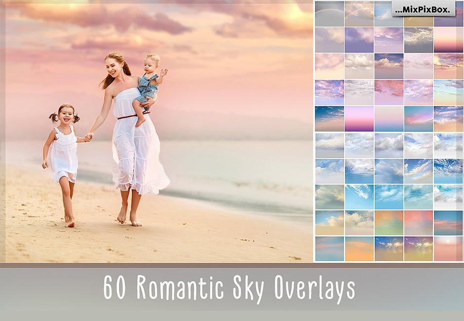 【S345】63组高清梦幻天空云彩叠加合成背景素材 含教程