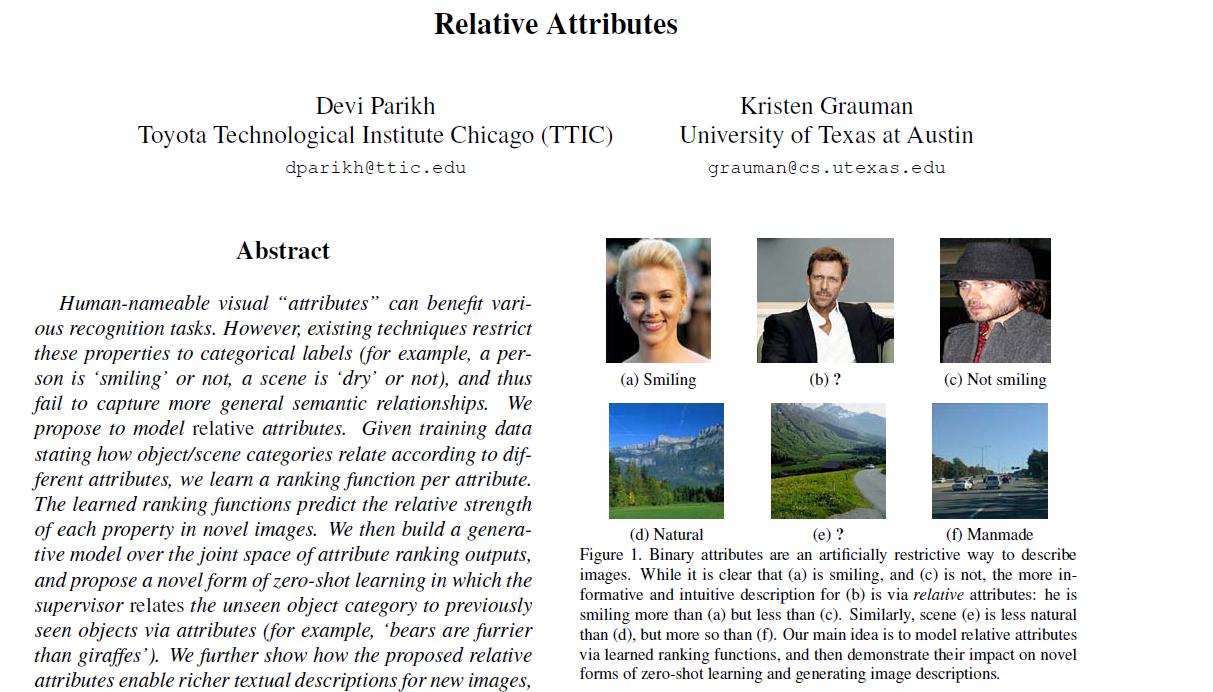 论文笔记 | Relative Attributes