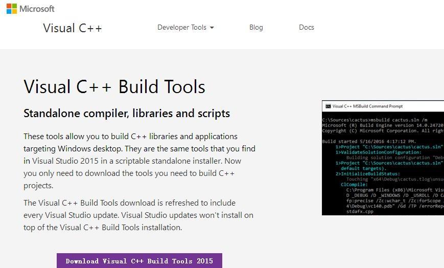 microsoft visual c++ build tools download