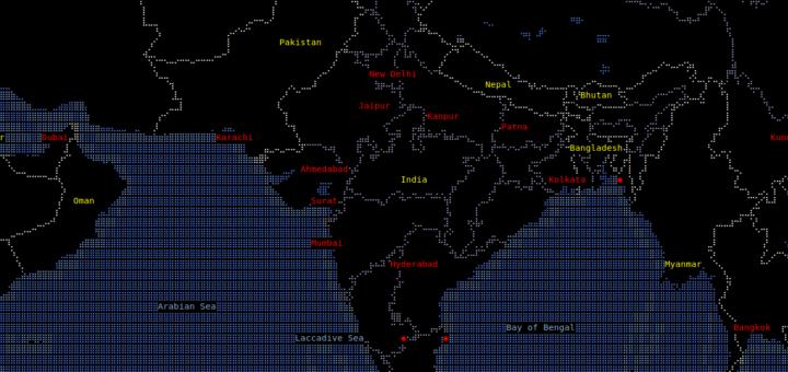 MapSCII:在终端显示世界地图