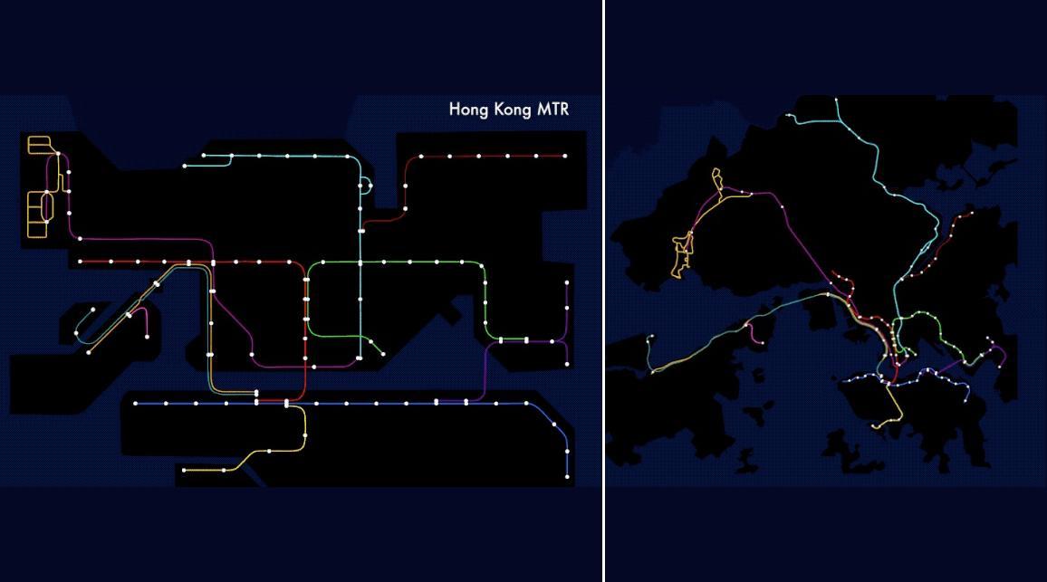 你每天坐地铁看到的线路图与真实地图之间的差距究竟有多大?