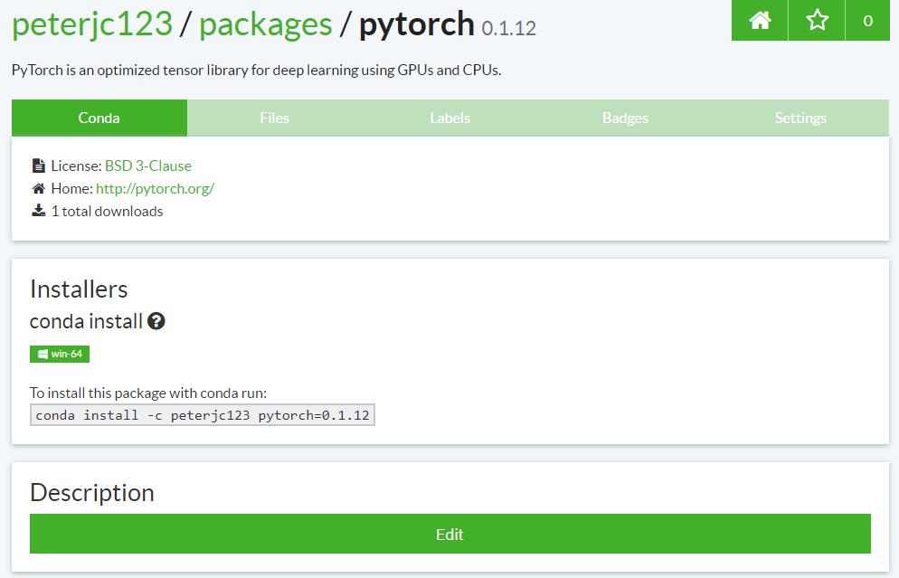 PyTorch在64位Windows下的Conda包