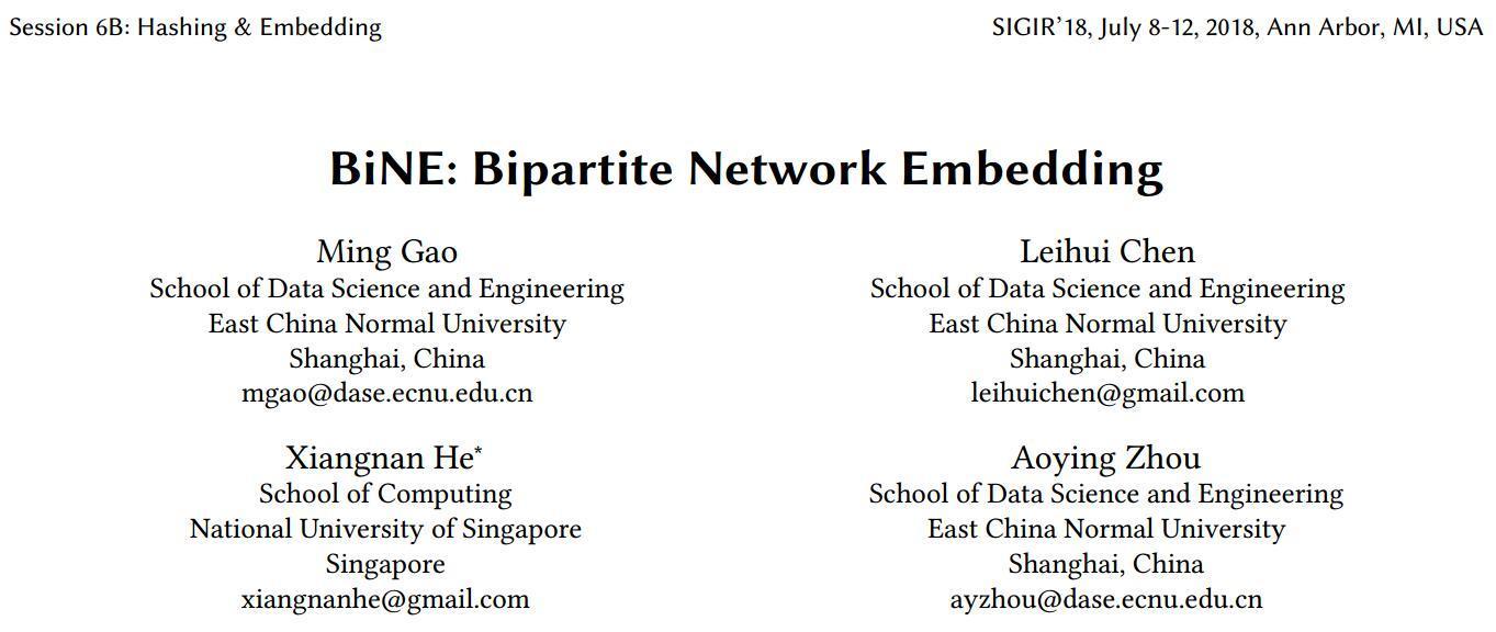 《BiNE: Bipartite Network Embedding》——论文阅读笔记