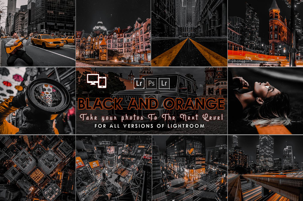 【P395】城市黑色和橙色预设Urban Black AND Orange Presets