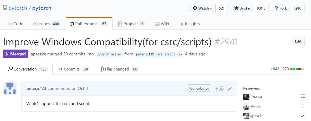 关于Windows PRs并入PyTorch的master分支