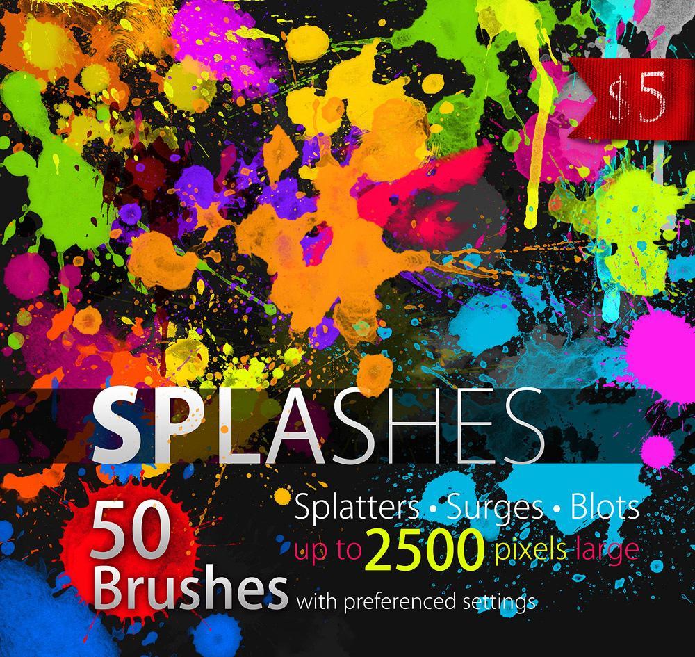 【S410】50组水彩油漆喷溅飞溅印迹涂抹高清PS笔刷